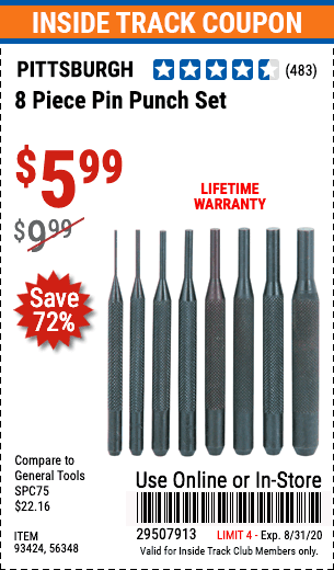 Harbor Freight 8 PIECE PIN PUNCH SET coupon