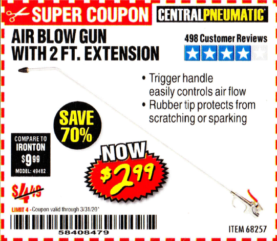 Harbor Freight AIR BLOW GUN WITH 2 FT. EXTENSION coupon