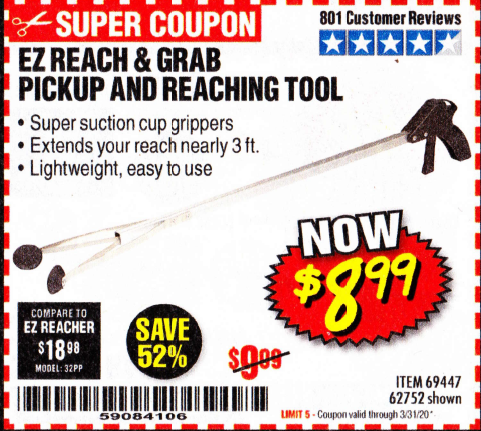 Harbor Freight EZ REACH AND GRAB PICKUP AND REACHING TOOL coupon