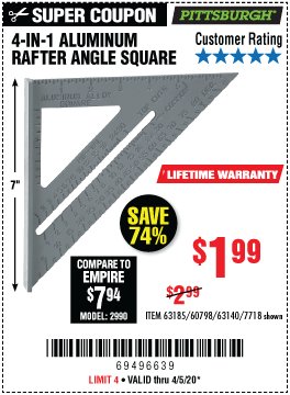 Harbor Freight 4-IN-1 ALUMINUM RAFTER ANGLE SQUARE coupon