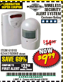 Harbor Freight WIRELESS SECURITY ALERT SYSTEM coupon