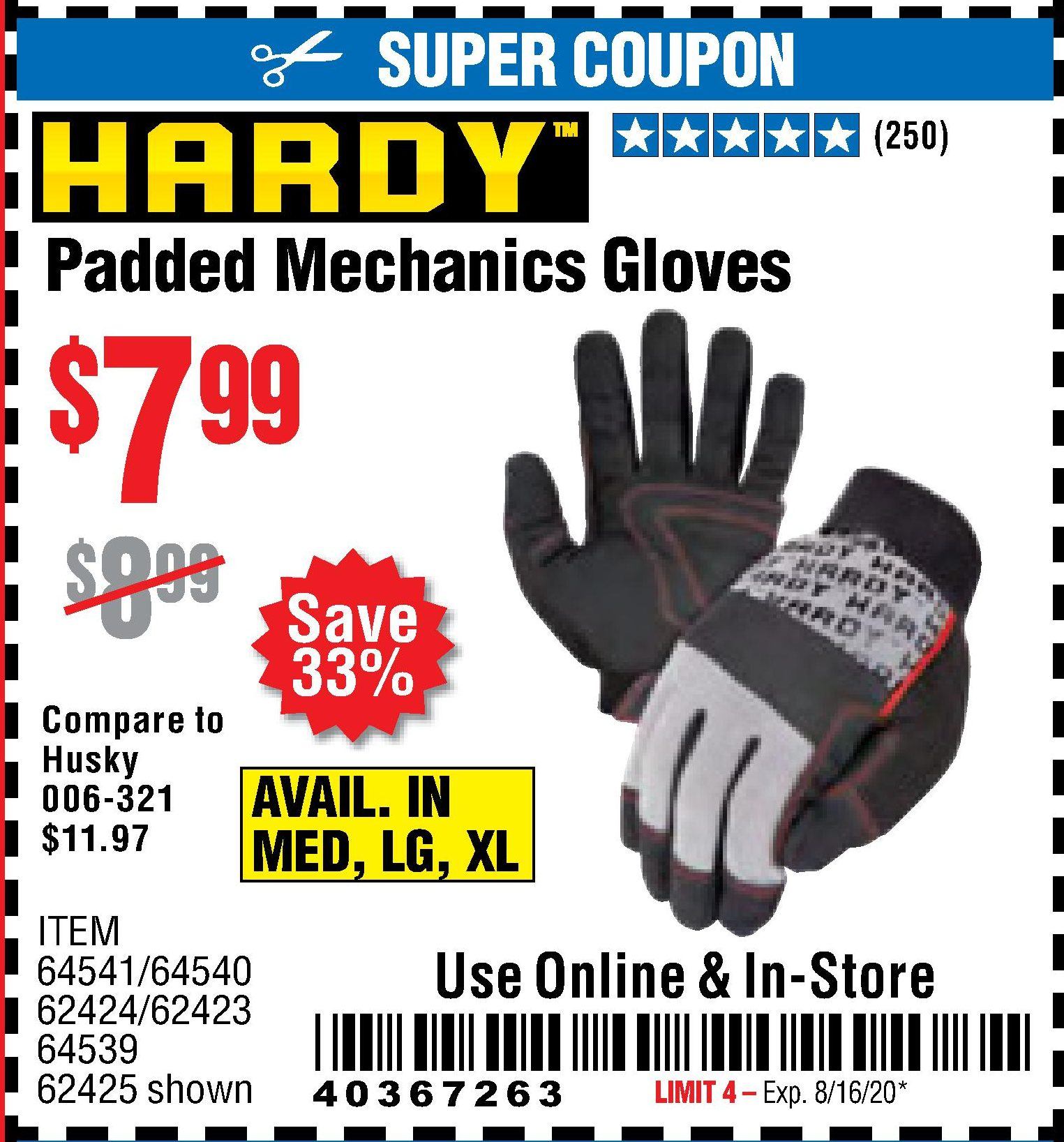 Harbor Freight PADDED MECHANICS GLOVES coupon