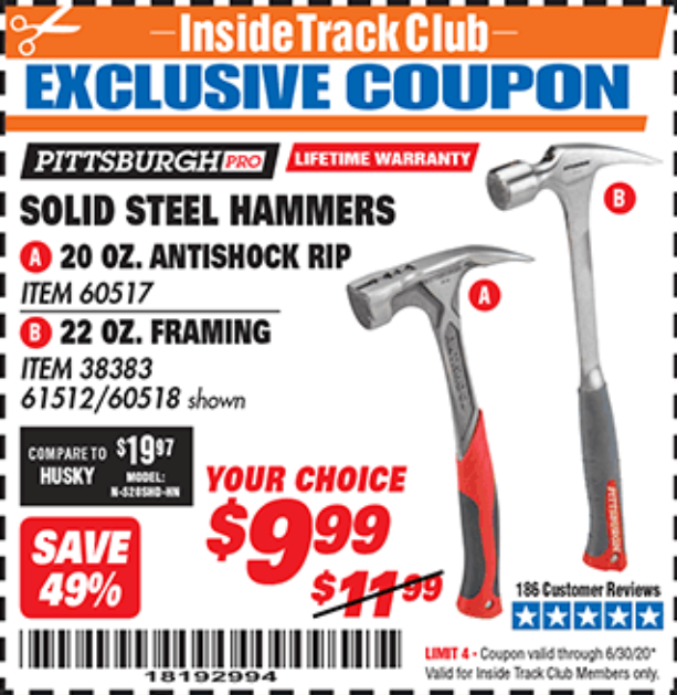 Harbor Freight STEEL PROFESSIONAL HAMMERS coupon