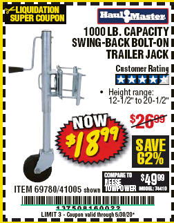 Harbor Freight 1000 LB. CAPACITY SWING-BACK TRAILER JACK coupon