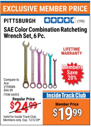 Harbor Freight 6 PIECE COLOR COMBINATION RATCHETING WRENCH SETS coupon