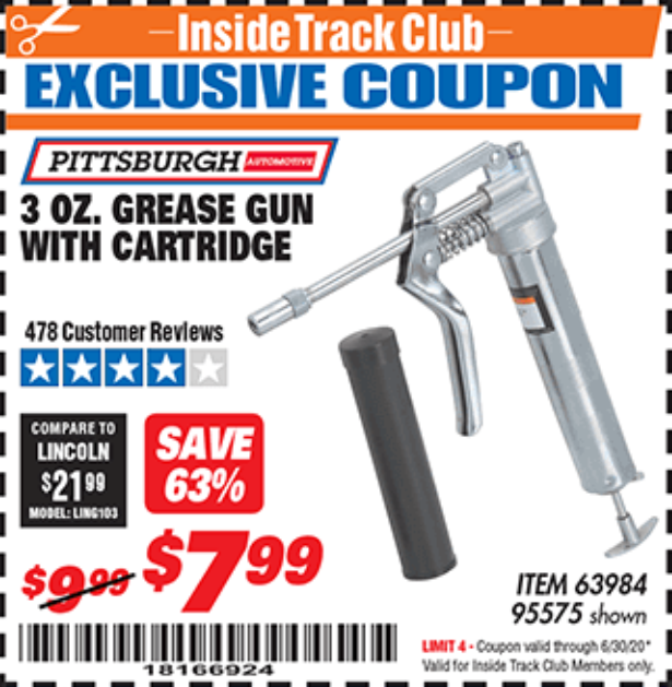 Harbor Freight 3 OZ. GREASE GUN WITH CARTRIDGE coupon