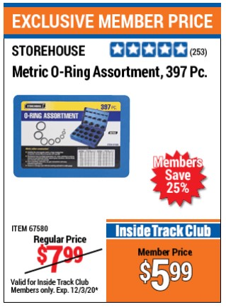 Harbor Freight 397 PIECE METRIC O-RING ASSORTMENT coupon