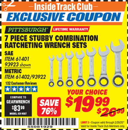 www.hfqpdb.com - 7 PIECE STUBBY RATCHETING COMBINATION WRENCH SETS Lot No. 61401/93923/93922/61402
