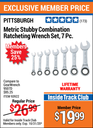 Harbor Freight 7 PIECE STUBBY RATCHETING COMBINATION WRENCH SETS coupon