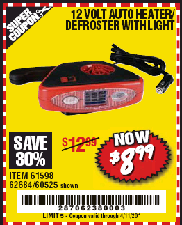 Harbor Freight 12 VOLT AUTO HEATER/DEFROSTER WITH LIGHT coupon