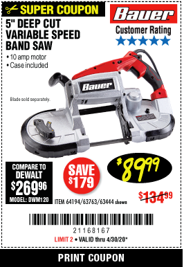 Harbor Freight BAUER 10 AMP DEEP CUT VARIABLE SPEED BAND SAW KIT coupon