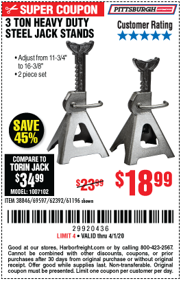 Harbor Freight 3 TON HEAVY DUTY STEEL JACK STANDS coupon