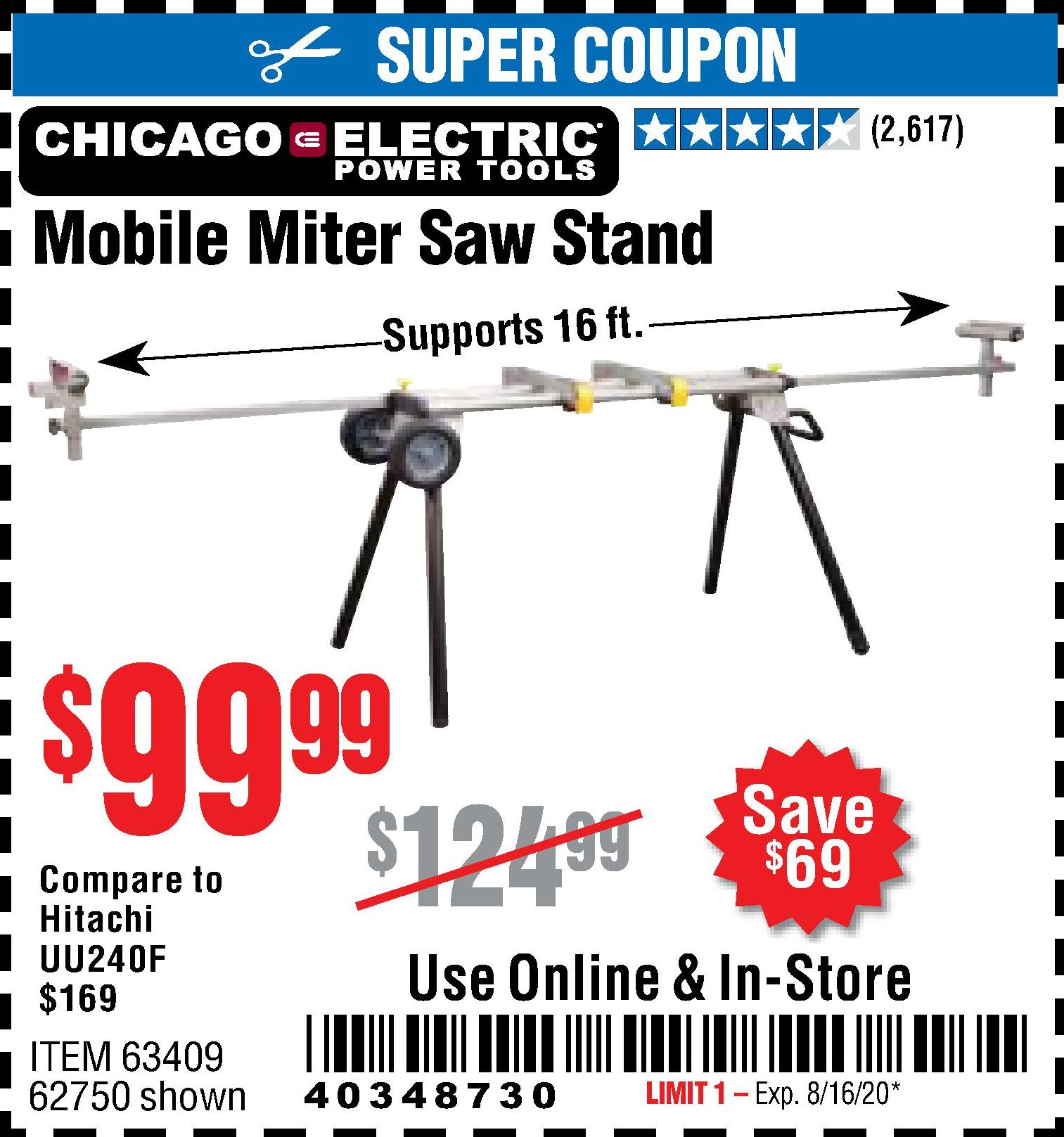 Harbor Freight CHICAGO ELECTRIC HEAVY DUTY MOBILE MITER SAW STAND coupon