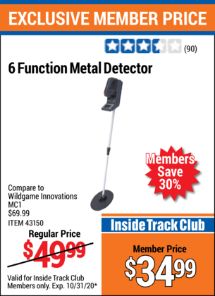 Harbor Freight 6 FUNCTION METAL DETECTOR coupon