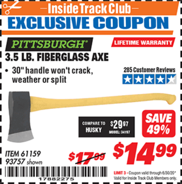 Harbor Freight 3-1/2 LB. FIBERGLASS AXE coupon