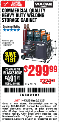 Harbor Freight VULCAN COMMERCIAL QUALITY HEAVY DUTY WELDING CABINET coupon