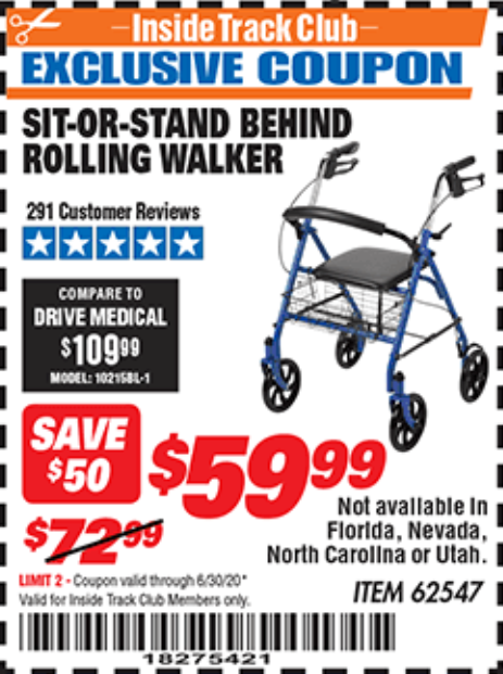 Harbor Freight SIT-OR-STAND BEHIND ROLLING WALKER coupon