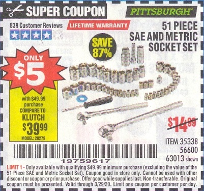 Harbor Freight 51 PIECE SAE AND METRIC SOCKET SET coupon