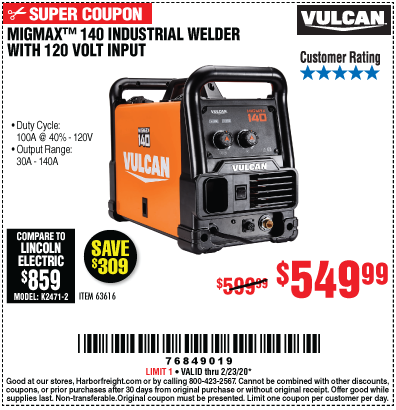 Harbor Freight VULCAN MIGMAX 140 WELDER WITH 120 VOLT INPUT coupon