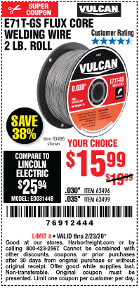 Harbor Freight VULCAN 0.030 IN. E71T-GS FLUX CORE WELDING WIRE, 2 LB. ROLL coupon