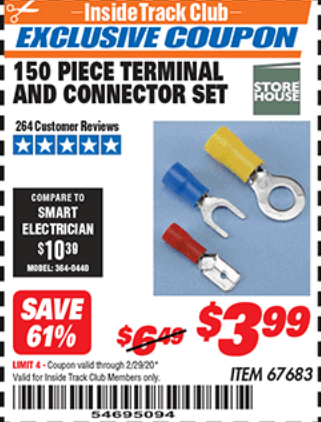 Harbor Freight 150 PIECE TERMINAL AND CONNECTOR SET coupon