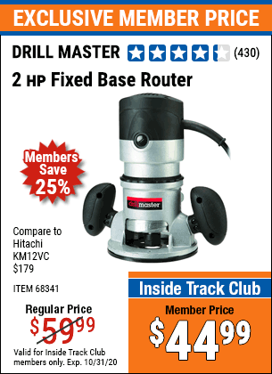 Harbor Freight 2 HP FIXED BASE ROUTER coupon