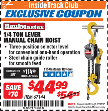 Harbor Freight 1/4 TON LEVER MANUAL CHAIN HOIST coupon