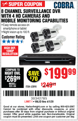 Harbor Freight 8 CHANNEL SURVEILLANCE DVR WITH 4 HD CAMERAS AND MOBILE MONITORING CAPABILITIES coupon