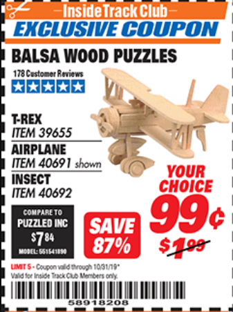 www.hfqpdb.com - BALSA WOOD PUZZLE - T-REX, APATOSAURUS, AIRPLANE, INSECT Lot No. 39655/39656/40691/40692