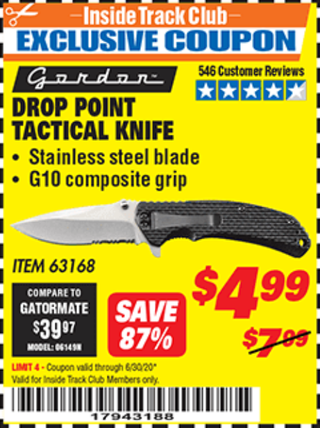 Harbor Freight DROP POINT TACTICAL KNIFE coupon
