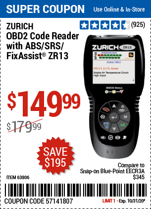 Harbor Freight ZURICH OBD2 SCANNER WITH ABS ZR13 coupon