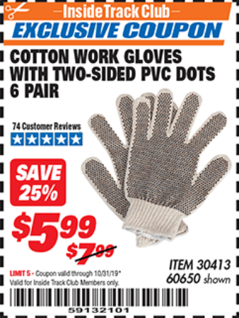 www.hfqpdb.com - COTTON WORK GLOVES WITH TWO-SIDED PVC DOTS PACK OF 6 Lot No. 60650