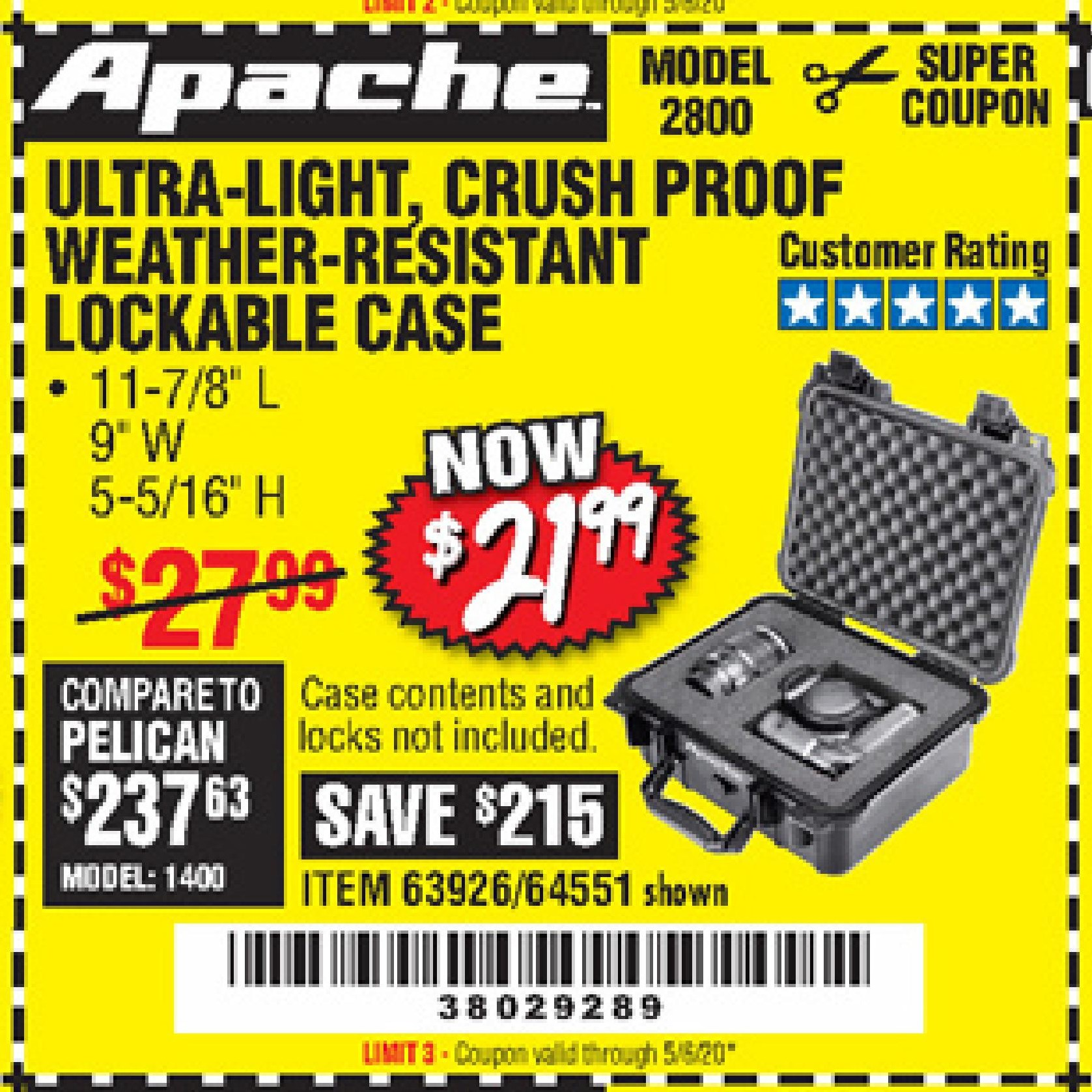 Harbor Freight APACHE 2800 CASE coupon