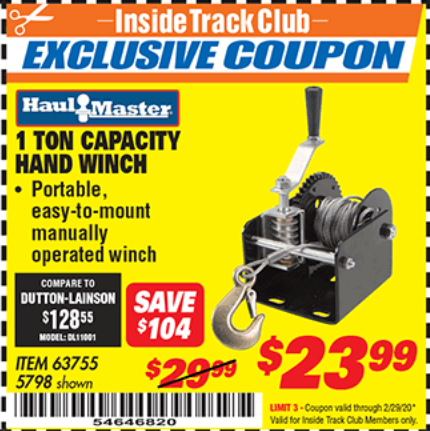 Harbor Freight 1 TON CAPACITY HAND WINCH coupon