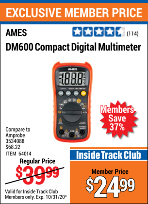 Harbor Freight AMES COMPACT SIZED DIGITAL MULTIMETER coupon