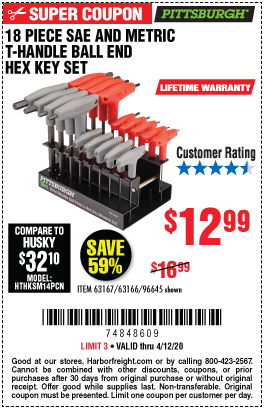 Harbor Freight 18 PIECE SAE AND METRIC T-HANDLE BALL END HEX KEY SET coupon