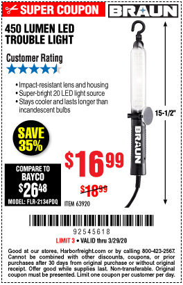 Harbor Freight 450 LUMENS LED TROUBLE LIGHT coupon