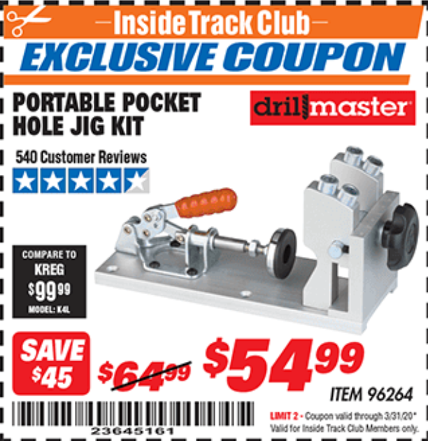 Harbor Freight PORTABLE POCKET HOLE JIG KIT coupon
