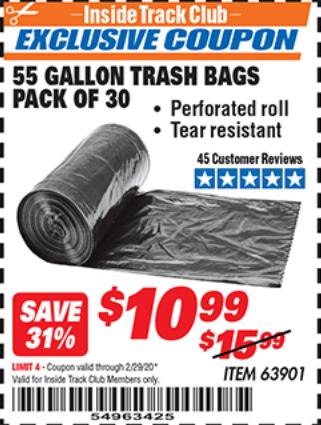 Harbor Freight 55 GALLON TRASH BAGS coupon