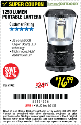 Harbor Freight 1250 LUMENS PORTABLE LANTERN coupon