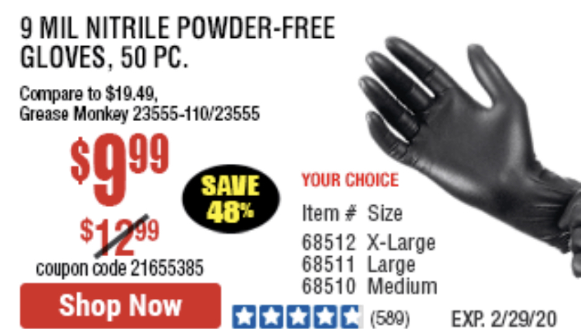 Harbor Freight POWDER-FREE NITRILE GLOVES PACK OF 50 coupon