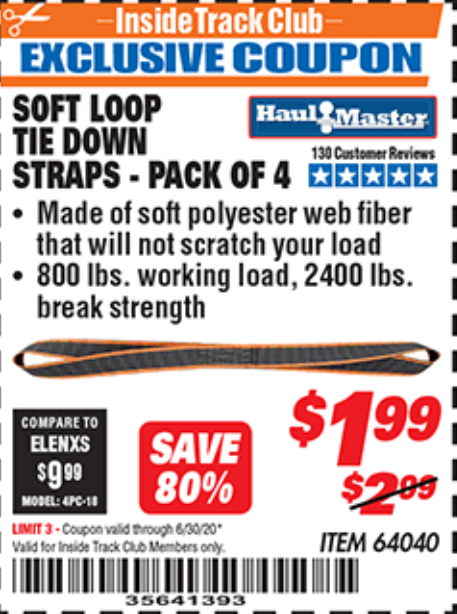 "www.hfqpdb.com - 1"" X 16"" SOFT LOOP TIE DOWN STRAPS PACK OF 4 Lot No. 64040"