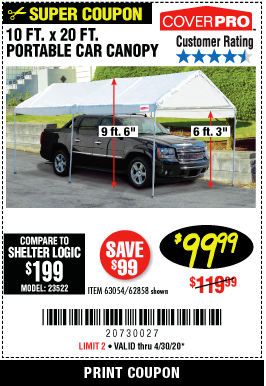 Harbor Freight 10 FT. X 20 FT. PORTABLE CAR CANOPY coupon