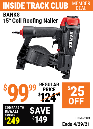 www.hfqpdb.com - BANKS 15DEG. COIL ROOFING NAILER Lot No. 63993