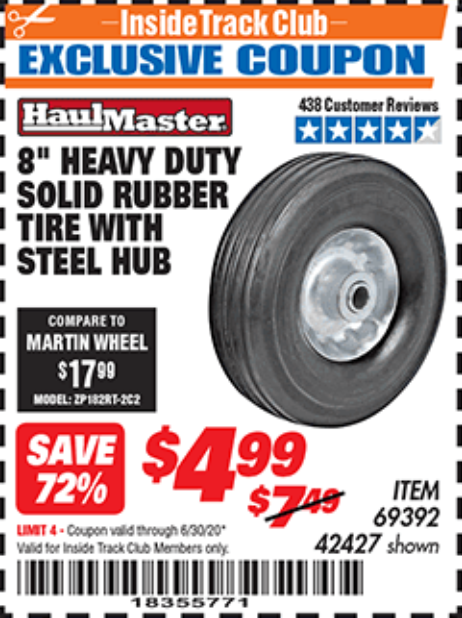"www.hfqpdb.com - 8"" HEAVY DUTY SOLID RUBBER  TIRE WITH STEEL HUB Lot No. 69392 42427"
