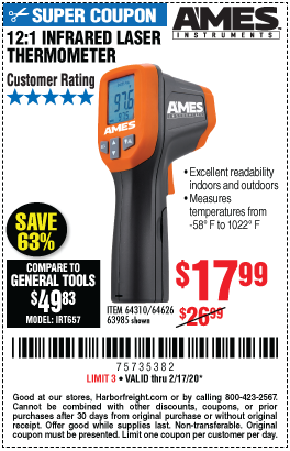 Harbor Freight 12:1 INFRARED LASER THERMOMETER coupon