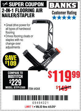 Harbor Freight 2 IN 1 FLOORING AIR NAILER/STAPLER coupon