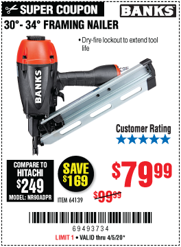 Harbor Freight BANKS 30'-34' FRAMING NAILER coupon