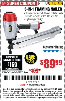 Harbor Freight 3-IN1 FRAMING NAILER coupon