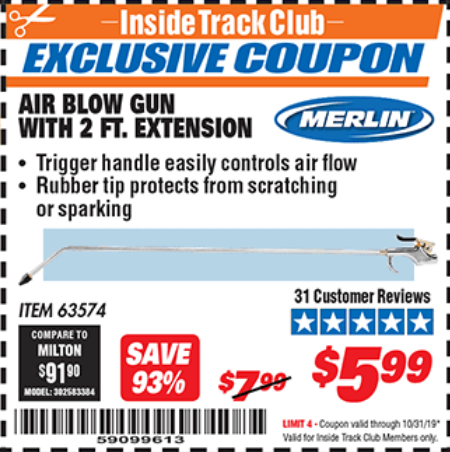 www.hfqpdb.com - MERLIN AIR BLOW GUN WITH 2 FT. EXTENSION Lot No. 63574